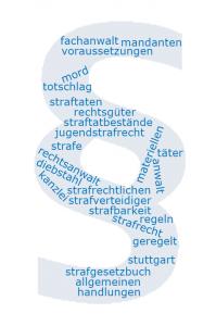 Eine Wortwolke in Form eines Paragraphenzeichens zum Thema Anwalt für Strafrecht in Stuttgart.