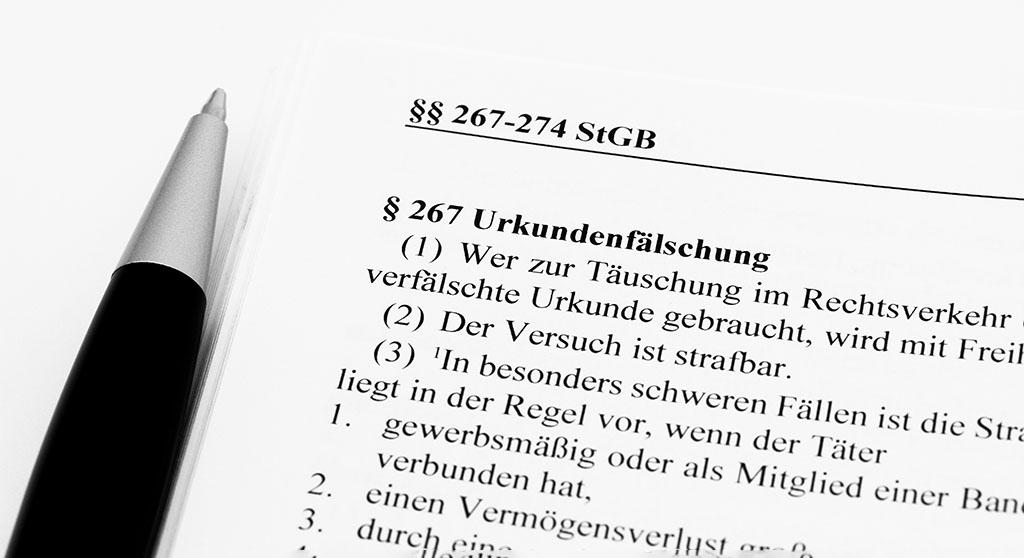 Paragraph 267 zur Urkundenfälschung